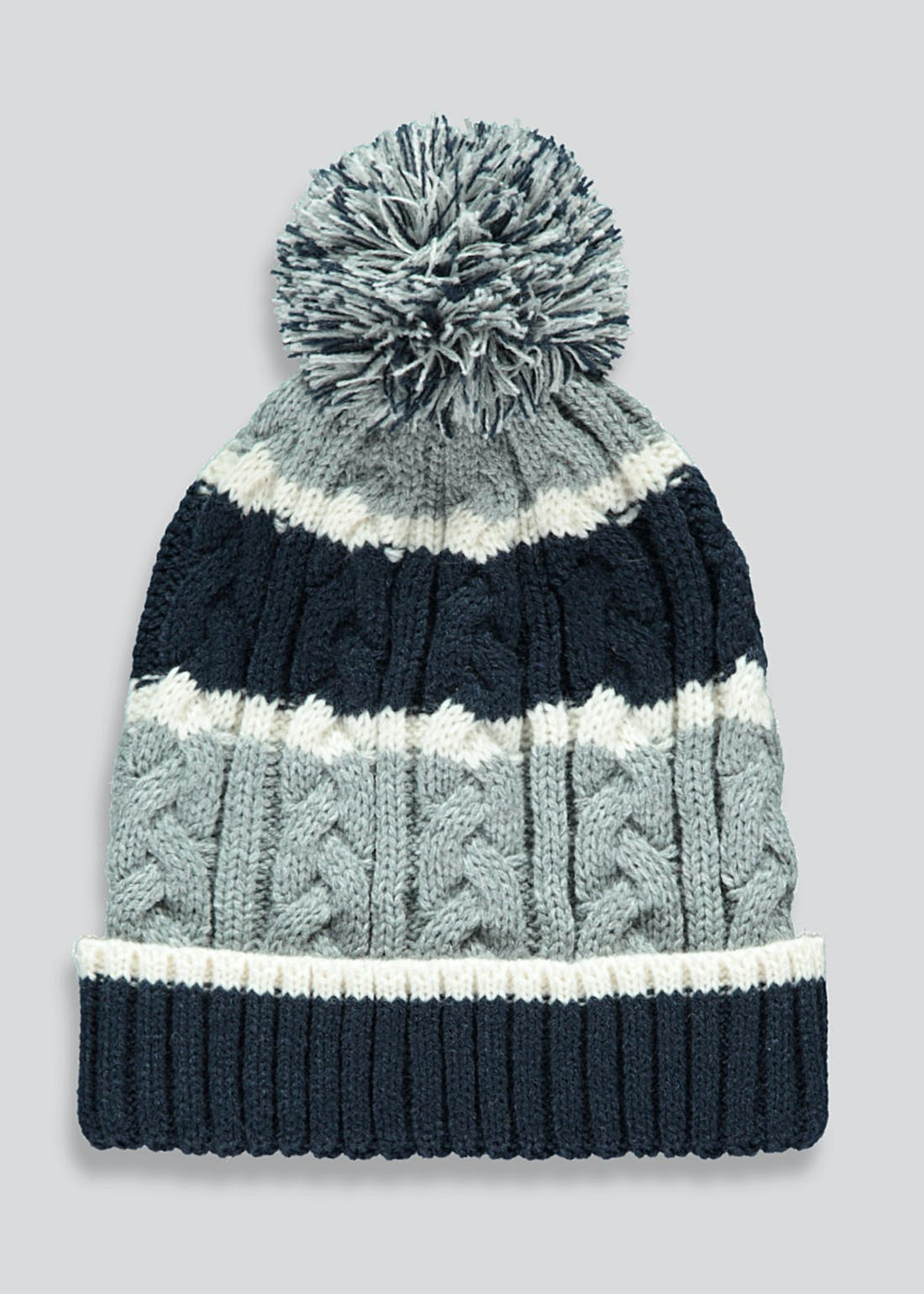 Boys Stripe Cable Knit Bobble Hat (7-13yrs)