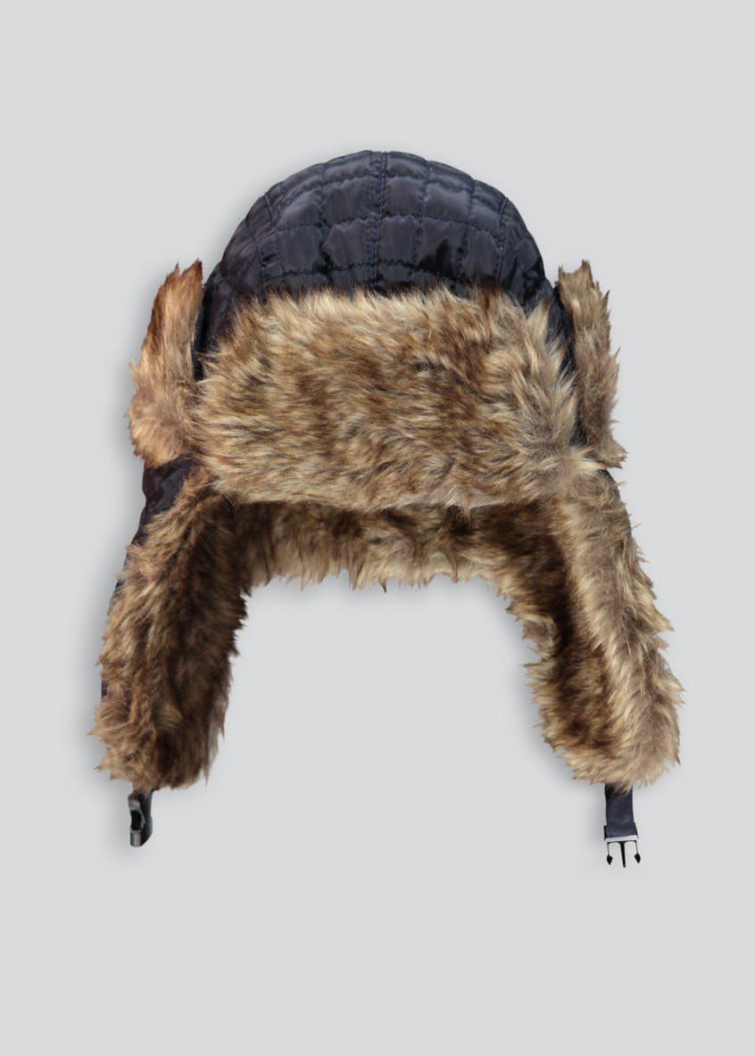 Boys Quilted Fur Lined Trapper Hat (7-13yrs)