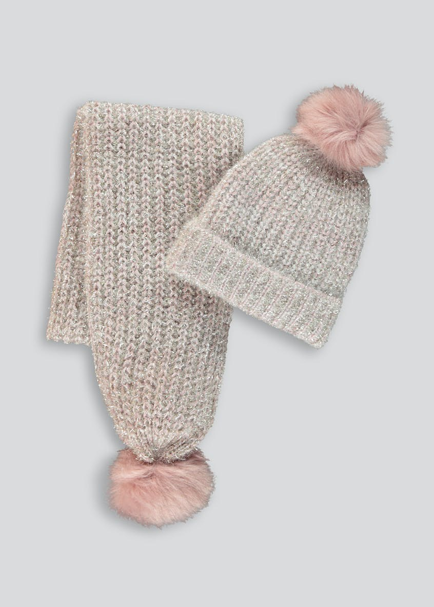 Girls Fluffy Sparkle Hat & Scarf Gift Set (7-13yrs)