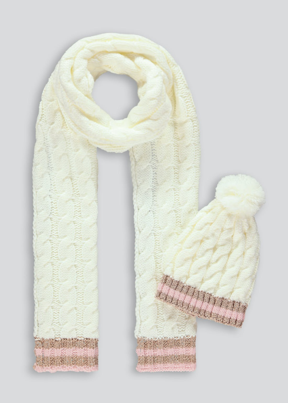 Cable Knit Hat & Scarf Set