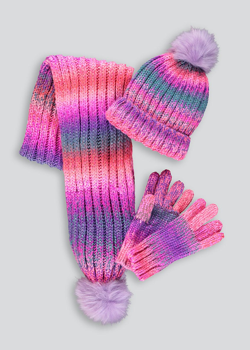 Girls 3 Piece Hat Scarf & Gloves Set (7-13yrs)