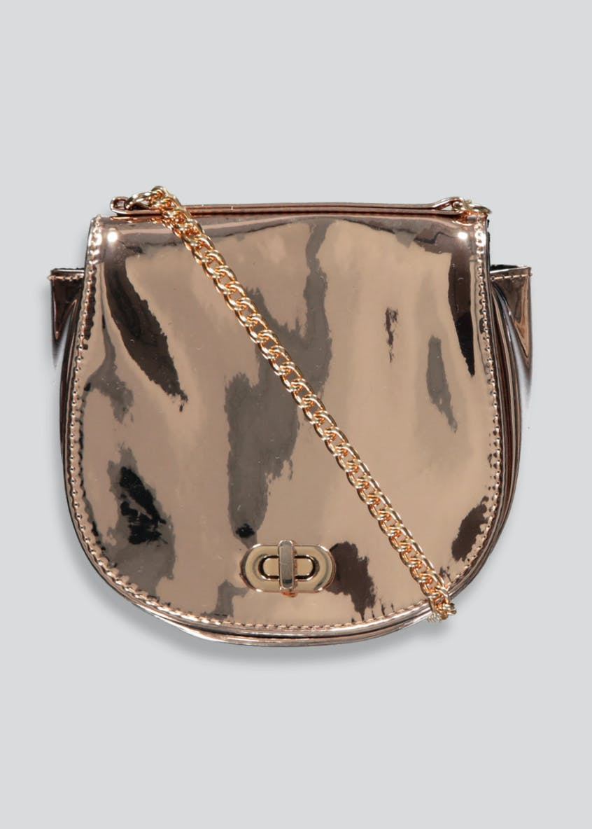 Metallic Chain Strap Cross-Body Bag