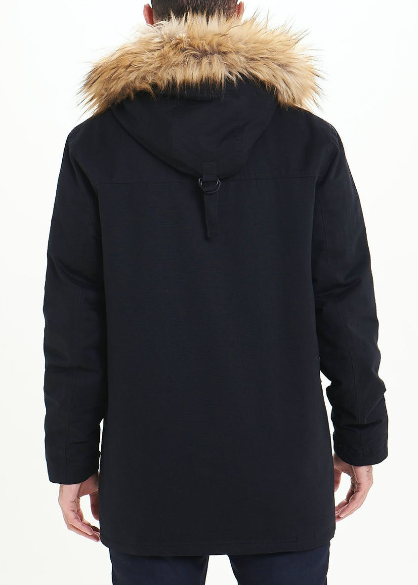Black Hooded Parka Coat