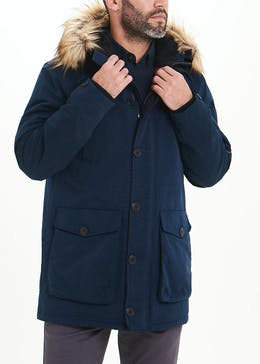 Navy Hooded Parka Coat