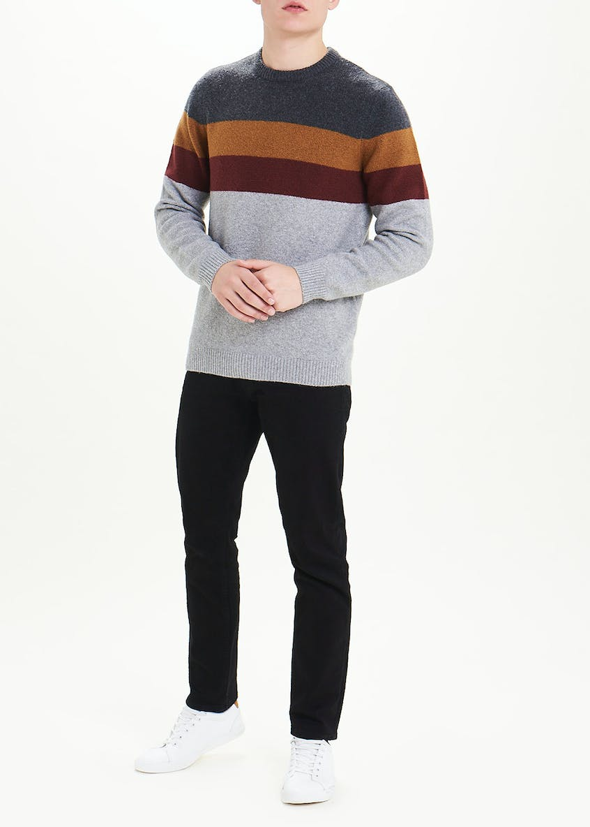Contrast Stripe Crew Neck Jumper