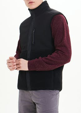 Black Zip Through Fleece Gilet
