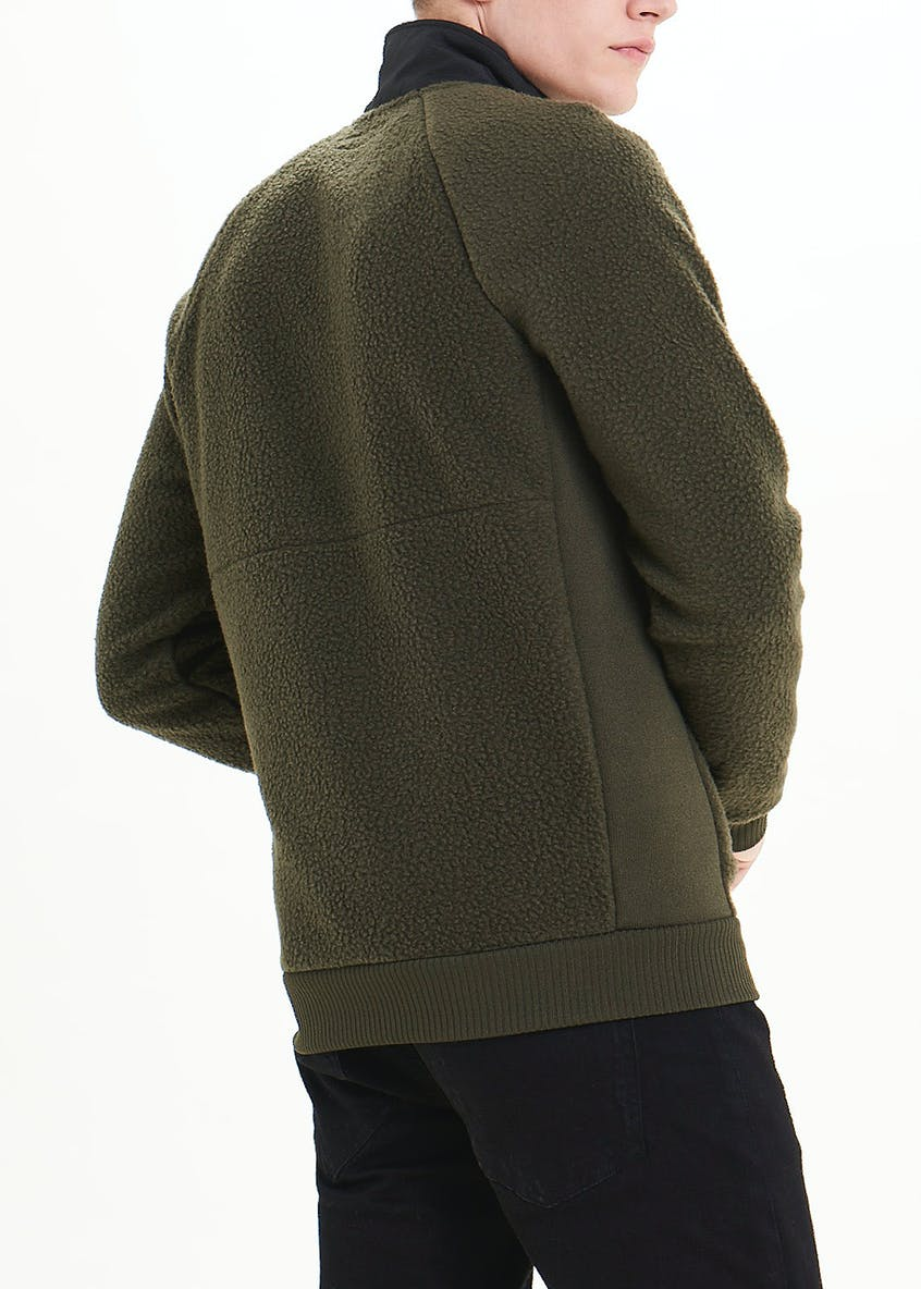 Half Zip Nylon Panel Fleece