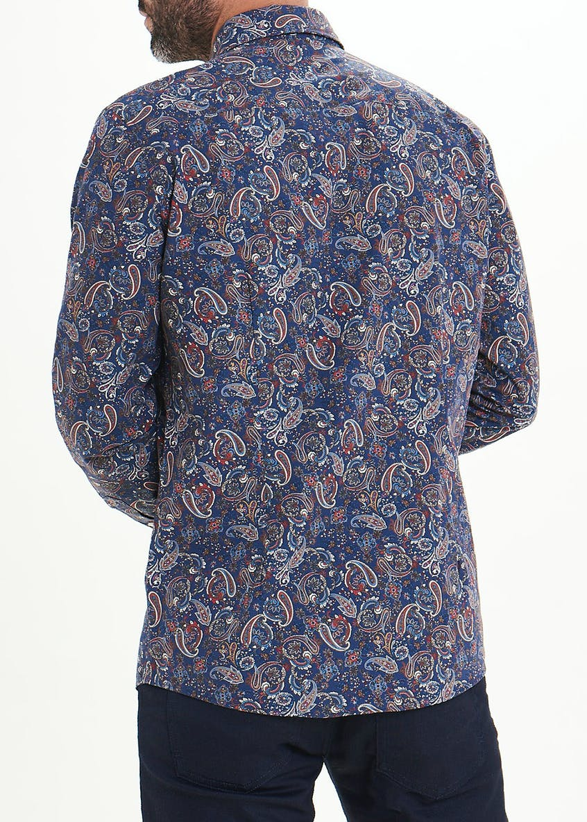 Easy Black Label Slim Fit Paisley Long Sleeve Shirt