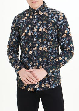 Easy Black Label Slim Fit Botanical Printed Shirt