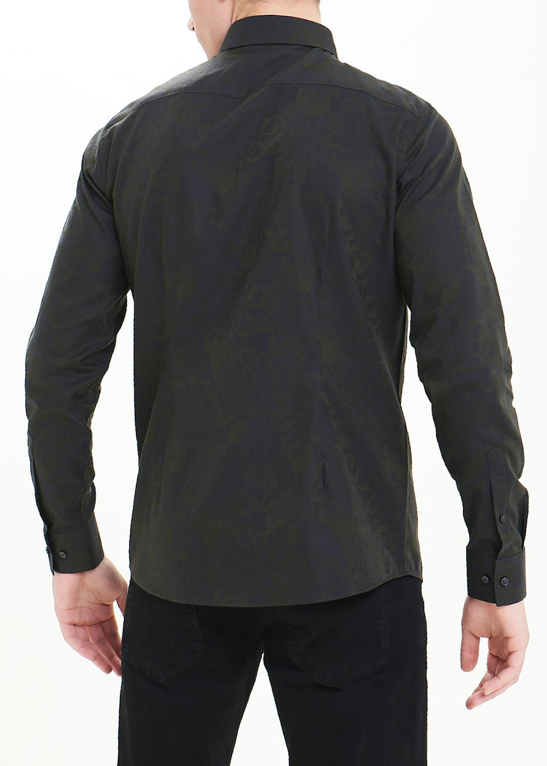 Slim Fit Jacquard Long Sleeve Shirt