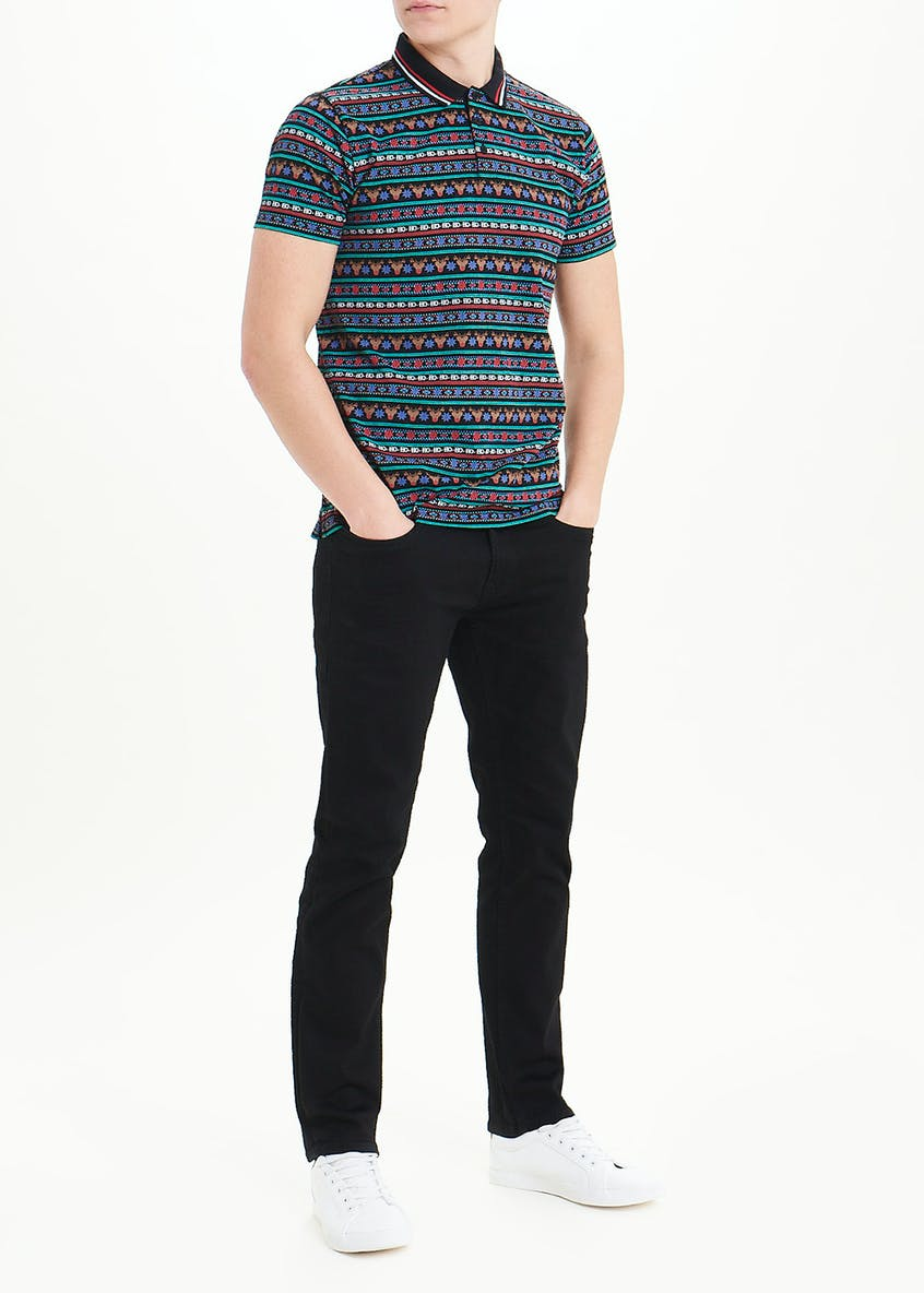 Christmas Stripe Print Polo Shirt