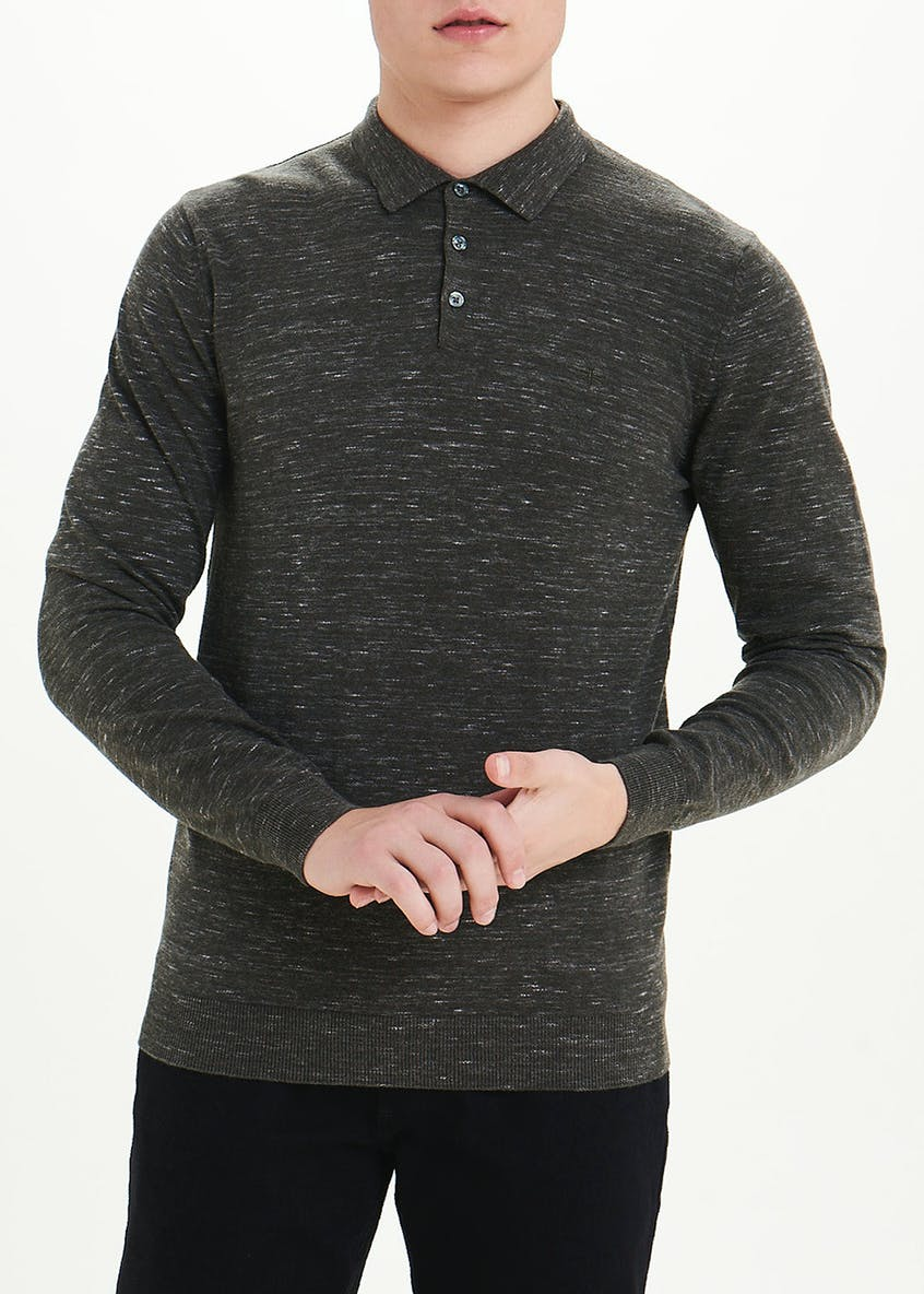 Easy Black Label Long Sleeve Space Dye Polo Shirt