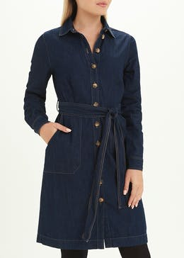 Dark Wash Long Sleeve Denim Shirt Dress