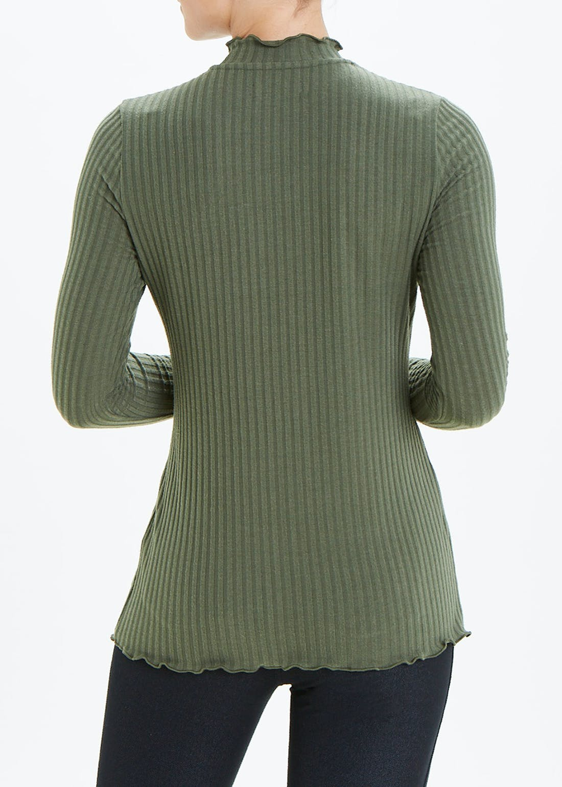Long Sleeve Ribbed Lettuce Hem Roll Neck Top