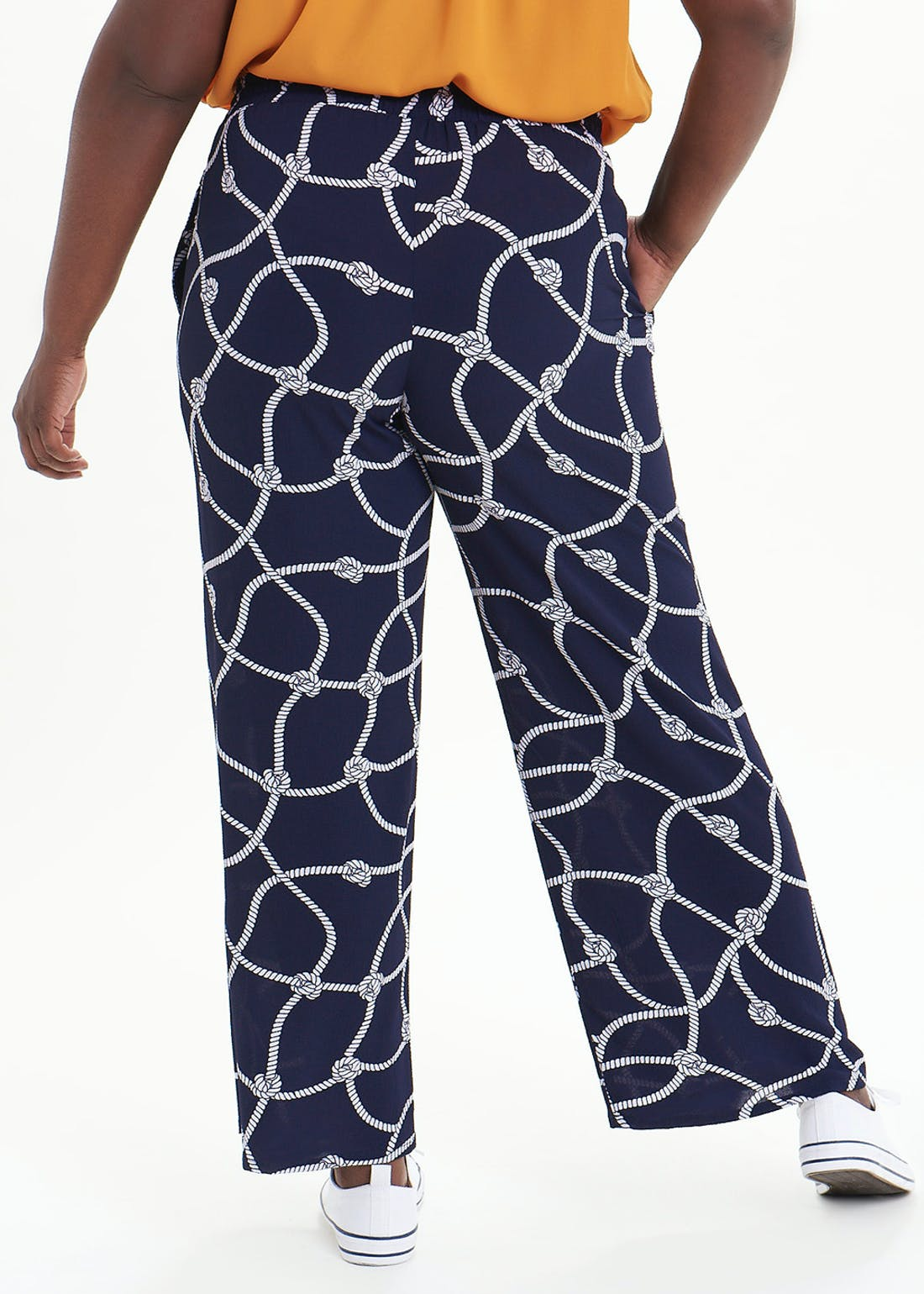 Papaya Curve Rope Print Wide Leg Trousers