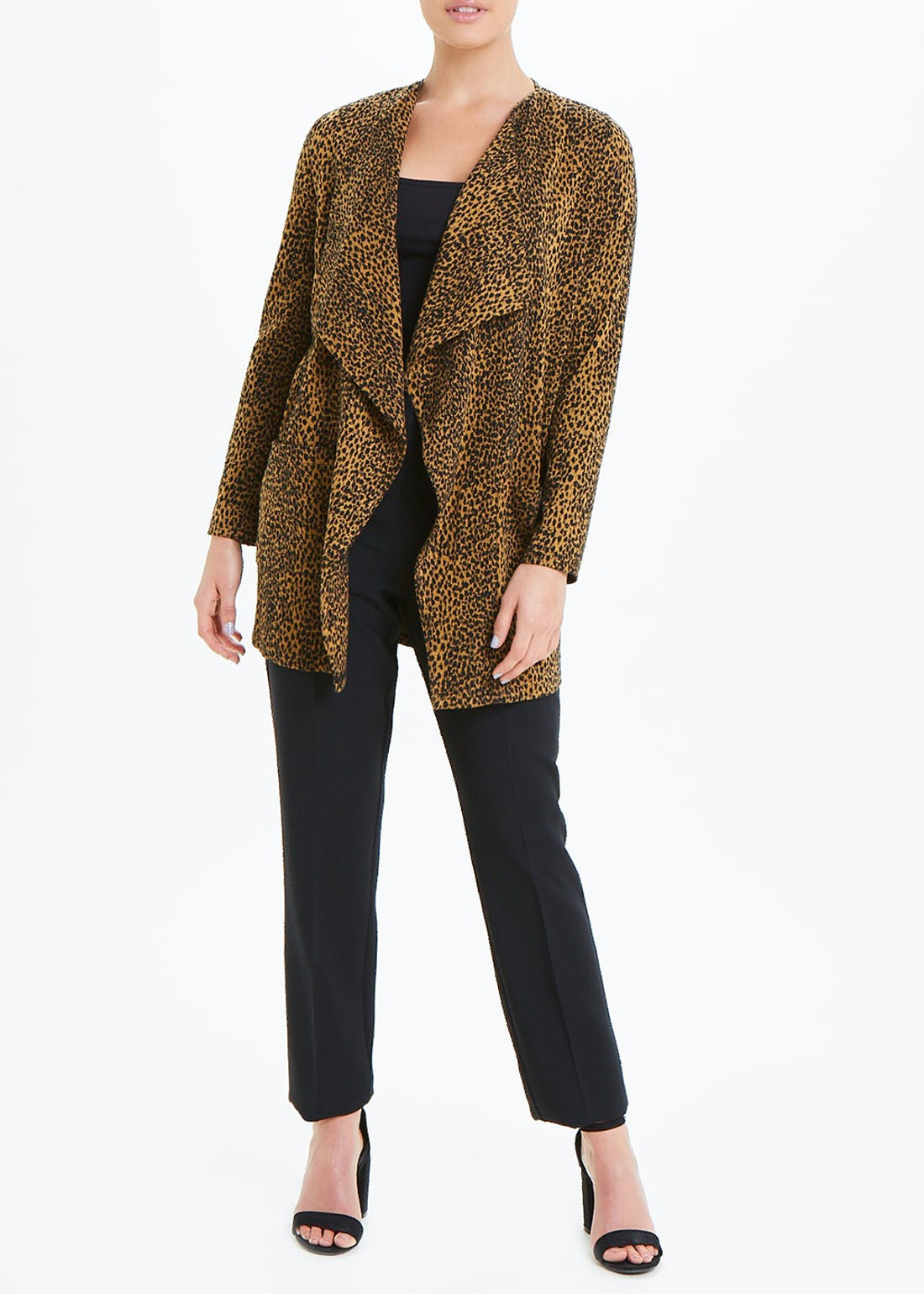 Brown Animal Print Waterfall Jacket
