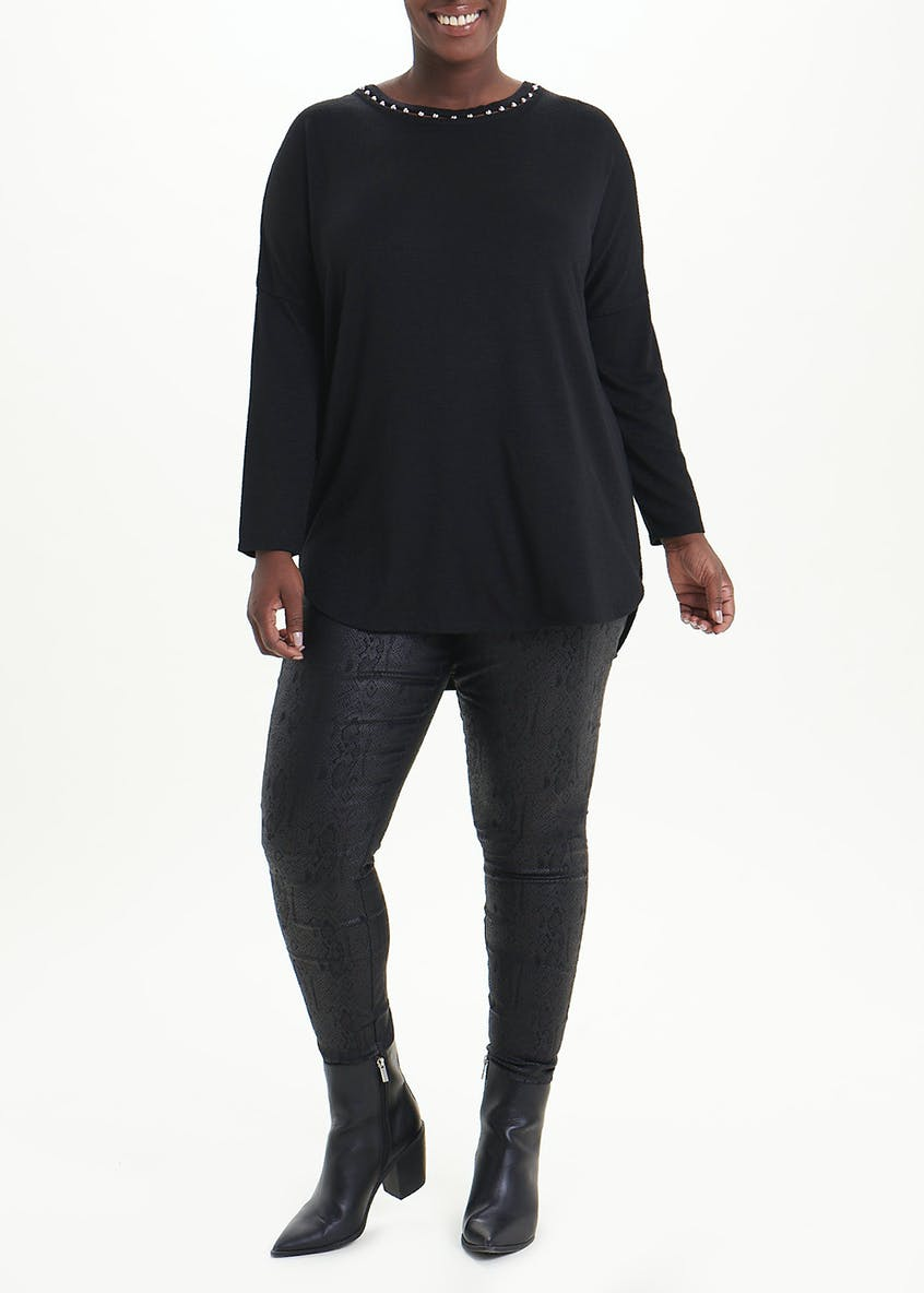 Papaya Curve Long Sleeve Pearl Neck Top