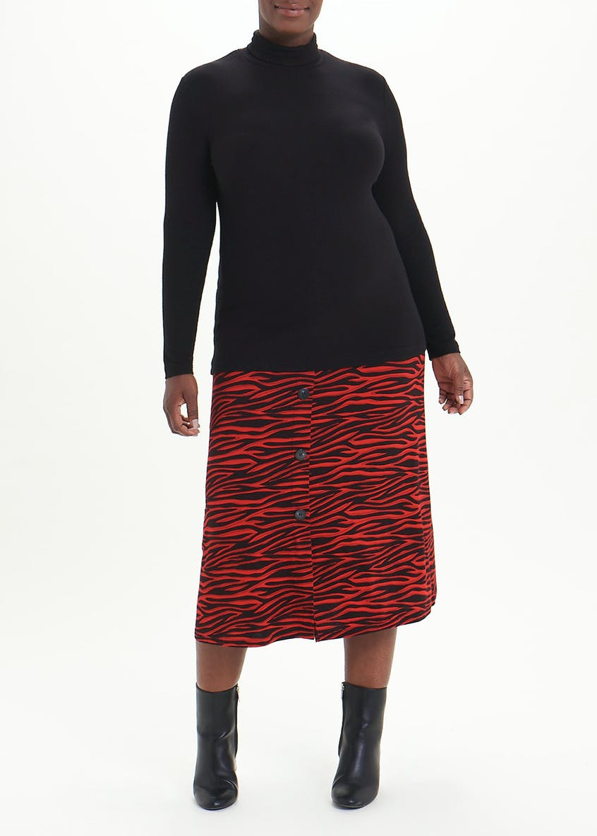 Papaya Curve Ribbed Roll Neck Jumper