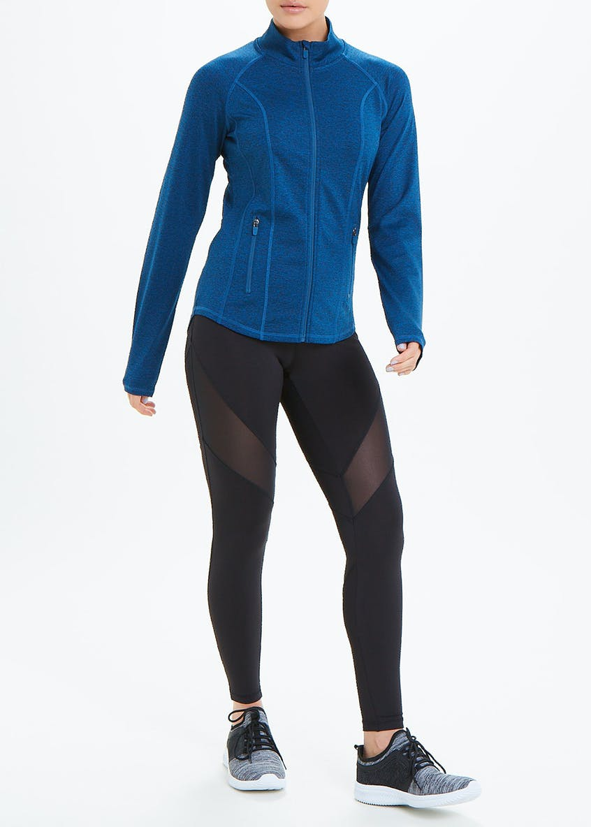 Souluxe Blue Panelled Zip Through Gym Top