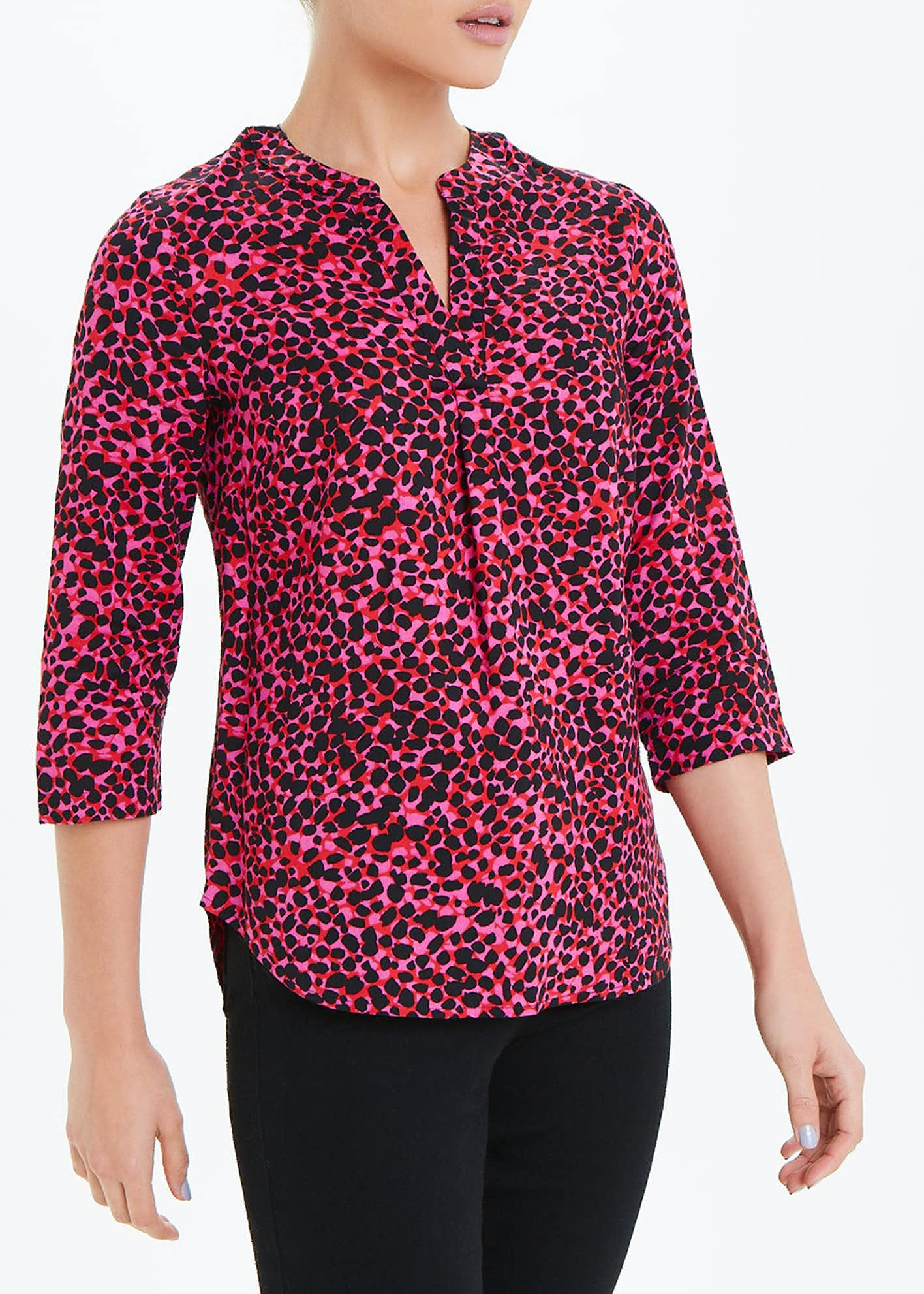 Pink 3/4 Sleeve V-Neck Animal Print Blouse