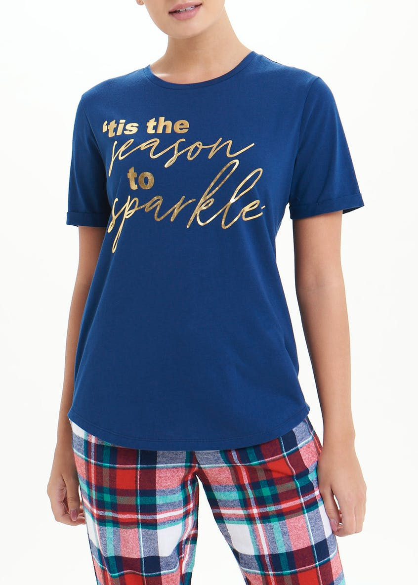 Mix & Match Christmas Slogan Pyjama Top