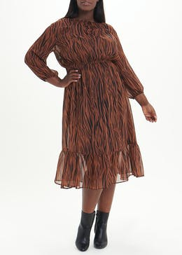 Papaya Curve Brown Long Sleeve Zebra Midi Dress