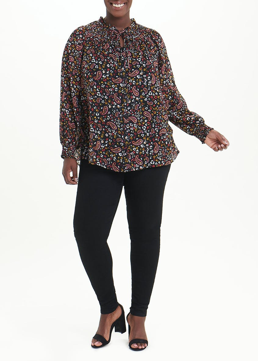 Papaya Curve Paisley Blouse