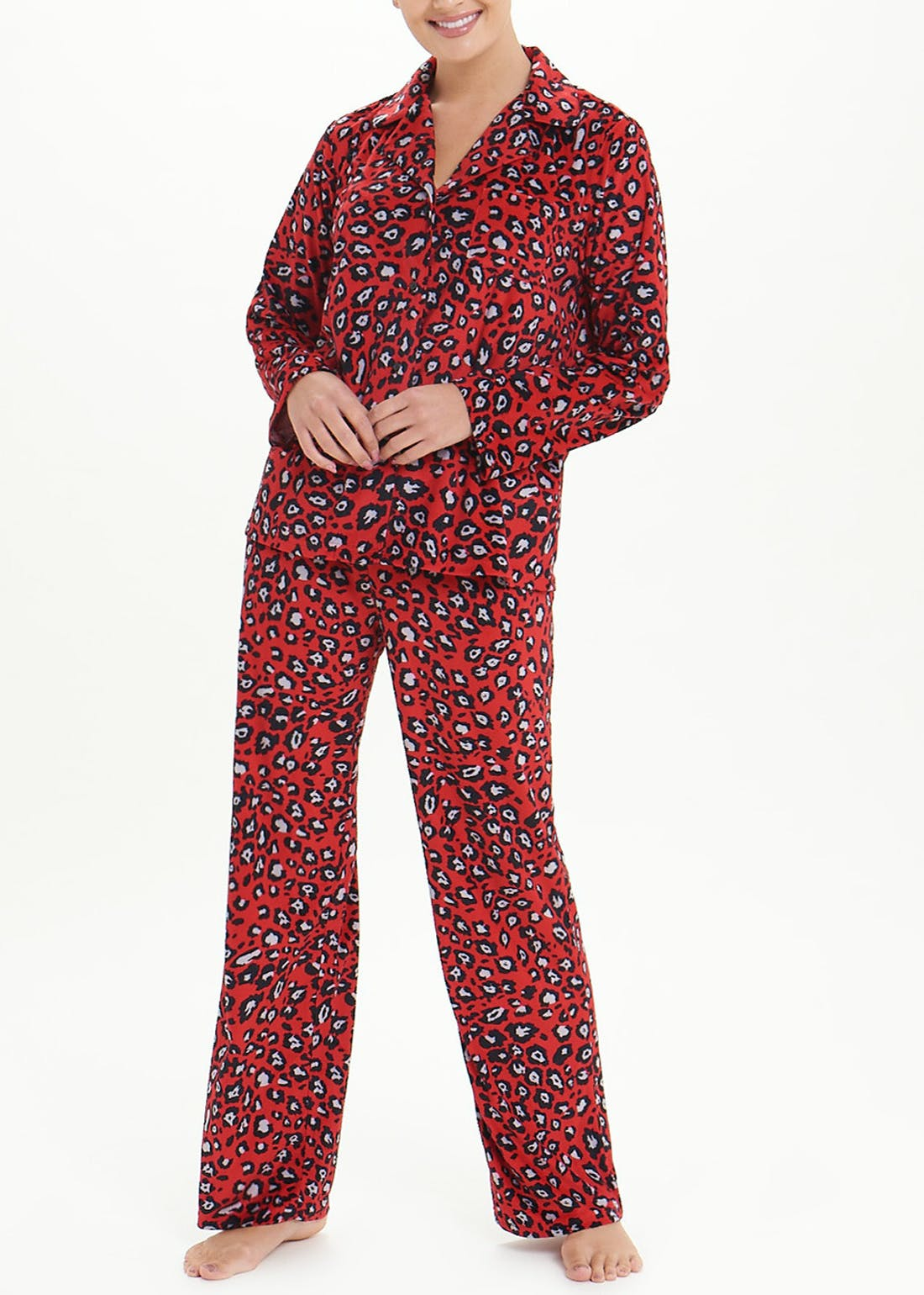 Leopard Print Fleece Pyjama Set