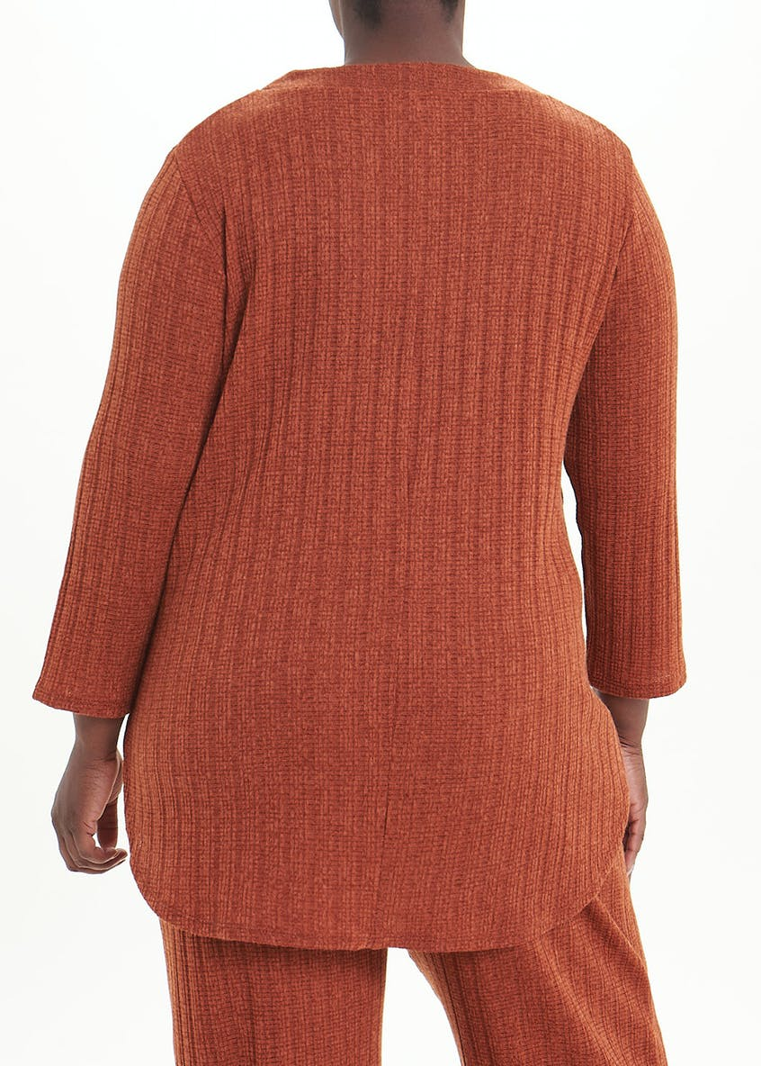 Papaya Curve Long Sleeve Ribbed Co-Ord Top