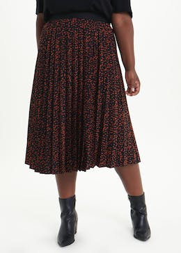 Papaya Curve Pleated Midi Skirt