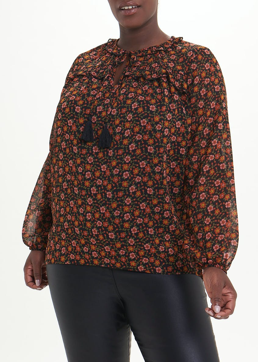 Papaya Curve Tassel Printed Peasant Blouse