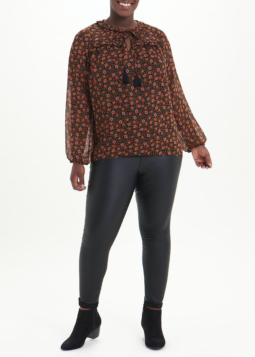 Papaya Curve Black Long Sleeve Printed Tassel Blouse