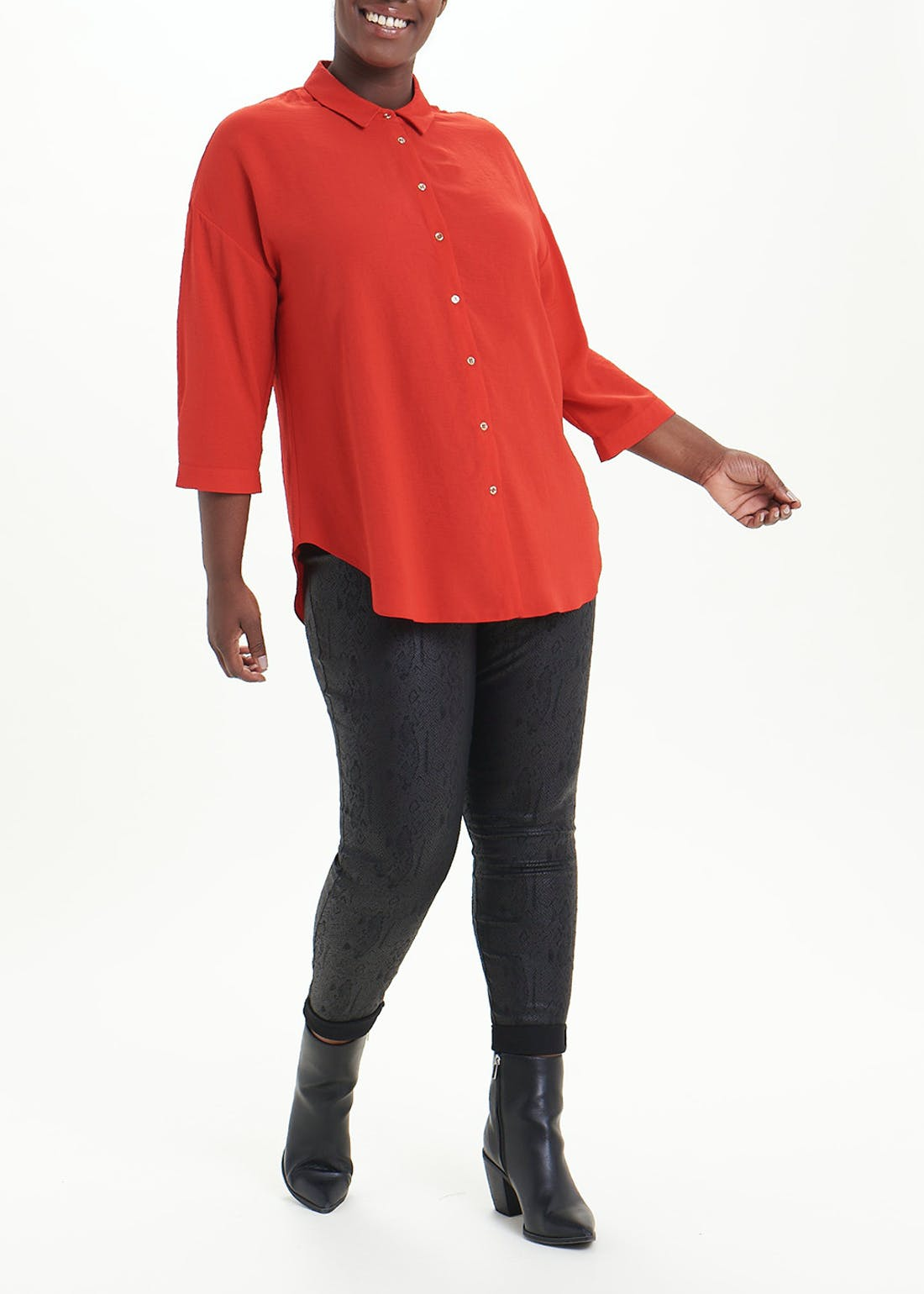Papaya Curve Red 3/4 Sleeve Button Front Blouse