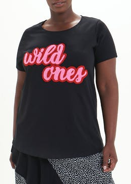 Papaya Curve Wild Ones Slogan T-Shirt