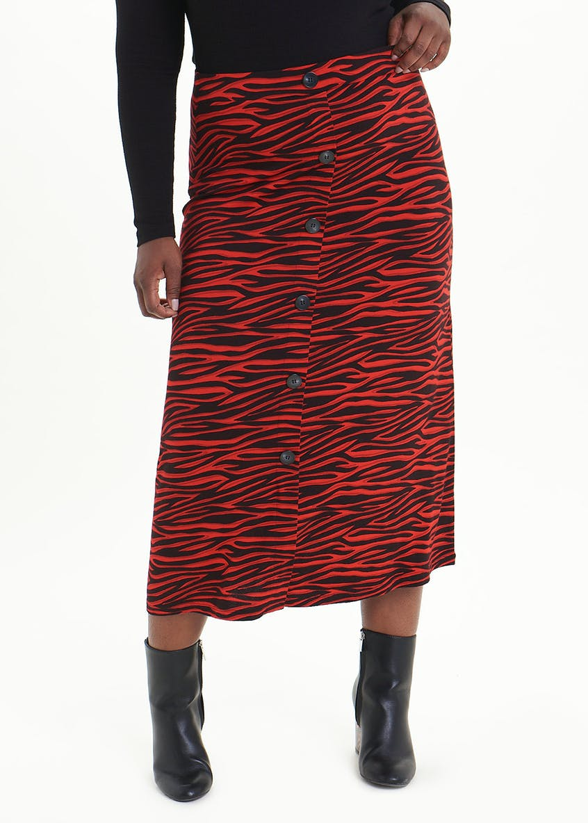 Papaya Curve Animal Print Button Front Midi Skirt