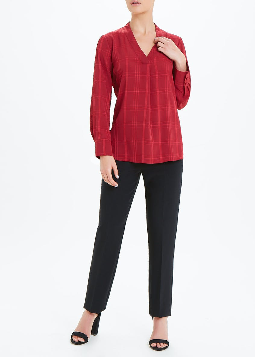 Burgundy Long Sleeve V-Neck Check Blouse