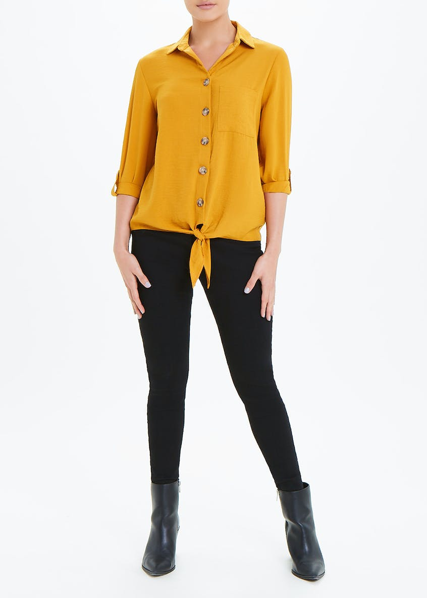 Mustard 3/4 Sleeve Tie Front Button Shirt