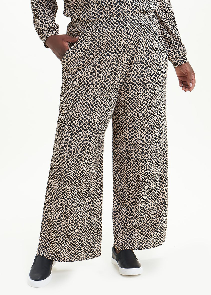 Papaya Curve Animal Print Wide Leg Trousers