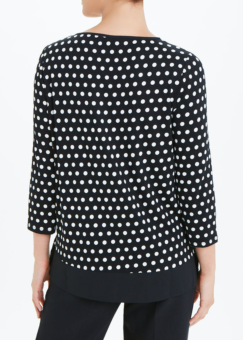 3/4 Sleeve Polka Dot Jersey Top