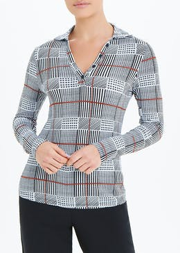 Long Sleeve Check Collared Top