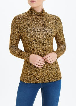 Abstract Dot Roll Neck Top