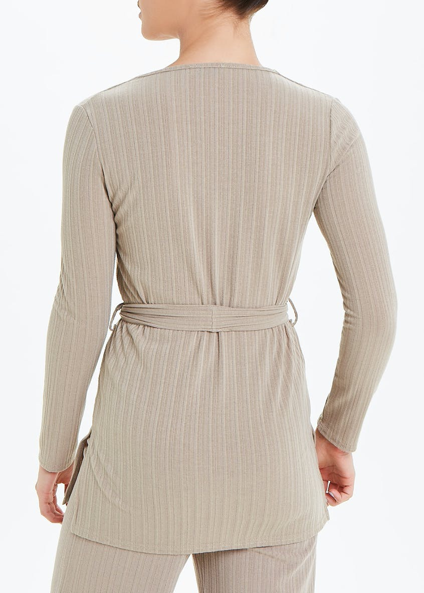 Long Sleeve Ribbed Belted Co-Ord Top