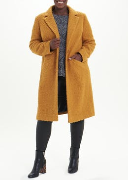 Papaya Curve Formal Single Button Teddy Coat