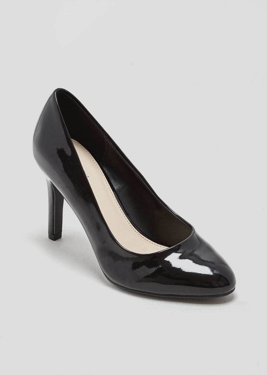 Black Patent Round Toe Court Shoes