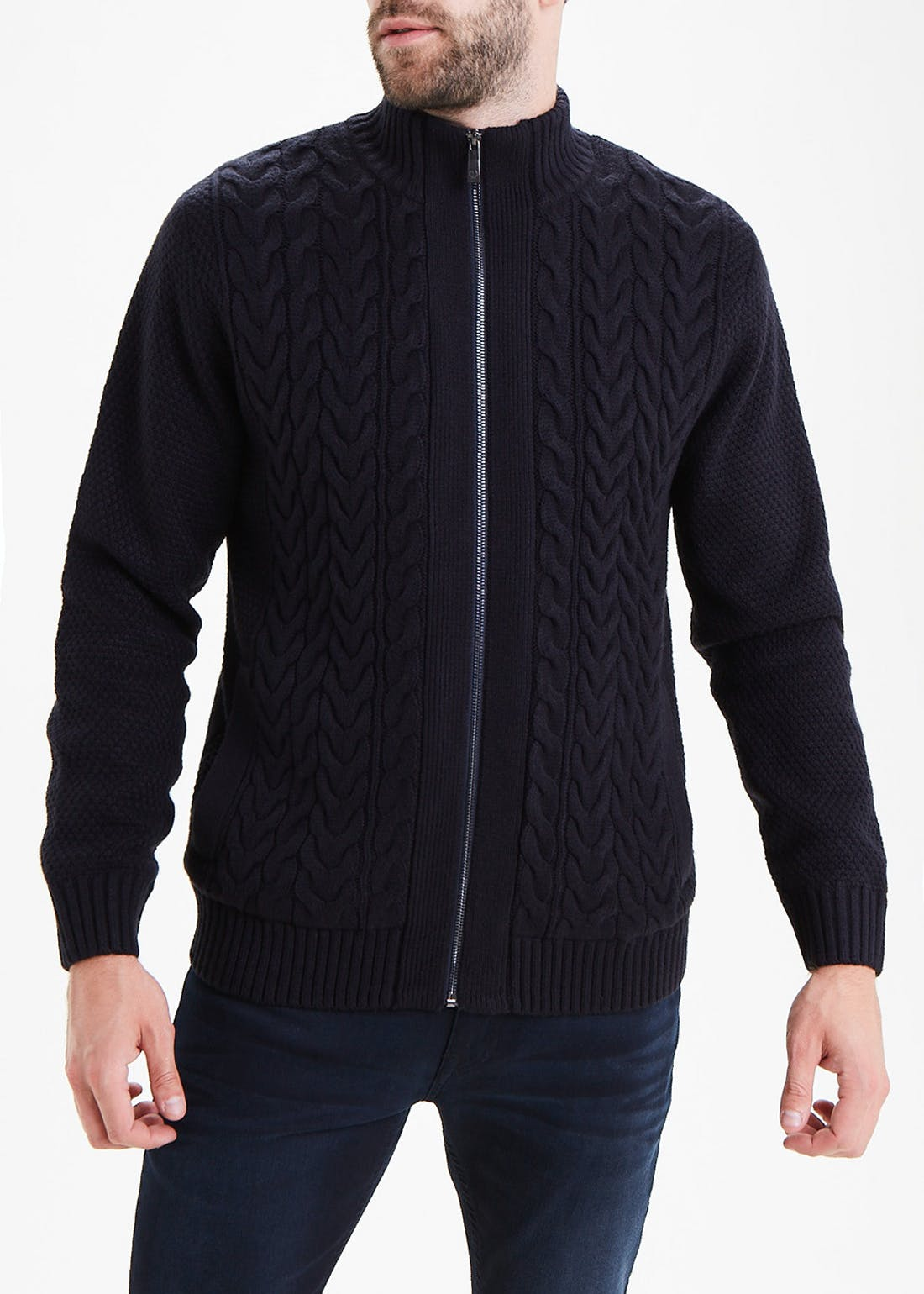 Lincoln Cable Knit Zip Up Cardigan