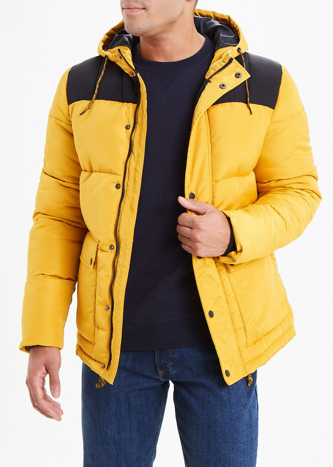 Yellow Colour Block Puffer Jacket
