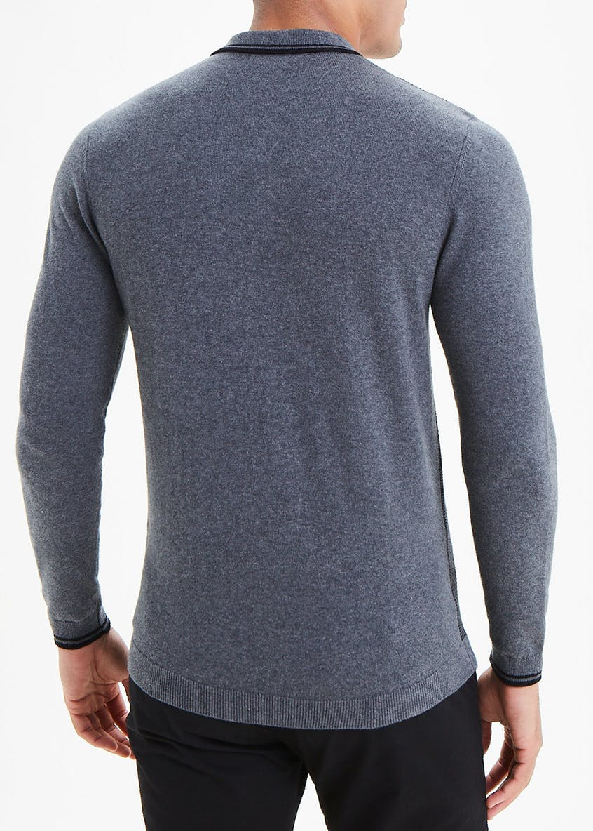 Long Sleeve Textured Knit Polo Shirt