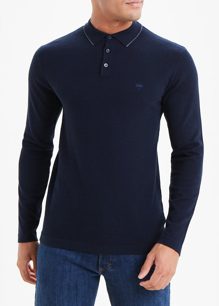 Easy Black Label Long Sleeve Tipped Polo Shirt