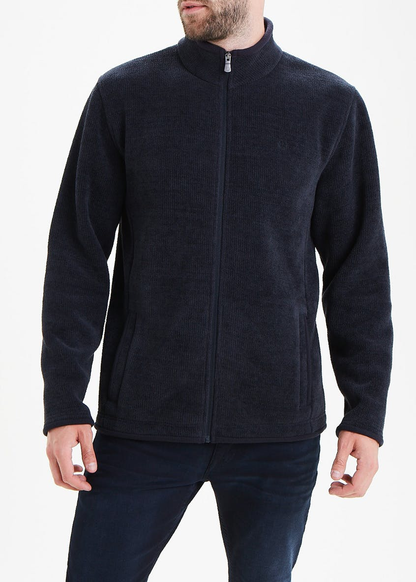 Lincoln Black Zip Through Chenille Fleece