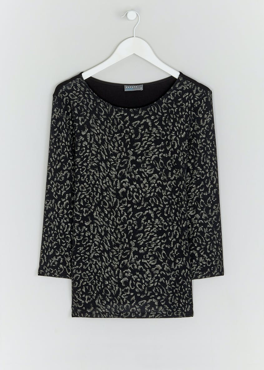 3/4 Sleeve Sparkle Animal Print Top
